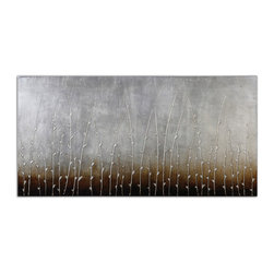 Uttermost - Sterling Branches Hand Painted Art - Hand painted artwork on canvas is stretched and mounted to wooden stretching boards. A glossy finish is added for extra definition. Due to the handcrafted nature of this artwork, each piece may have subtle differences.