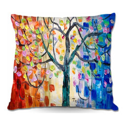 DiaNoche Designs - Pillow Woven Poplin - Surreal Blossom Tree - Toss this decorative pillow on any bed, sofa or chair, and add personality to your chic and stylish decor. Lay your head against your new art and relax! Made of woven Poly-Poplin.  Includes a cushy supportive pillow insert, zipped inside. Dye Sublimation printing adheres the ink to the material for long life and durability. Double Sided Print, Machine Washable, Product may vary slightly from image.