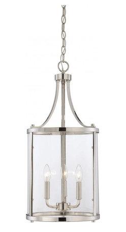 Joshua Marshal - Three Light Clear Glass Polished Nickel Foyer Hall Pendant - Three Light Clear Glass Polished Nickel Foyer Hall Pendant