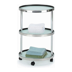 New Spec - Utility Cart w Multifunction Tray - Color/Finish: Frosted/Silver. Material: Glass/Metal. Tray With Multi Function. . 19.09 in. L x 15.15 in. W x 27.56 in. H (18 lbs)