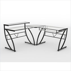 Z-Line Designs - Feliz Glass L-shape Desk - This is a beautiful piece of top-quality furniture that's perfect for your Man Cave, Game Room, Office or anywhere you would like to decorate and show your personal style.