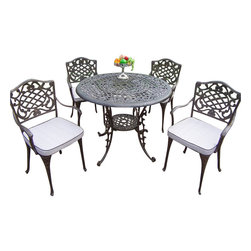 """Oakland Living - Oakland Living Mississippi 42"""" 5-Piece Dining Set with Cushions - Oakland Living - Patio Dining Sets - 201121129AB - About This Product:"""