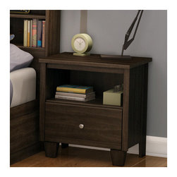 "South Shore - Clever Room 1 Drawer Nightstand - This nightstandblends seamlessly into any decor and includes a drawer and a handy open storage space, perfect for storing books. Its functional, unisex design will fit right in with all your Kid's ages and stages. You'll love its wooden legs and satin nickel finish knobs. The interior drawer is equipped with polymere glides including damper and catches. Features: -Clever Room collection. -Non toxic materials and components construction. -One drawer equipped with polymer glides. -Metal knob with satin nickel finish. -Open storage perfect for bedside reading. -Wooden legs for a stylish touch. -Manufactured from eco-friendly, EPP-compliant laminated particle board carrying the Forest Stewardship Council (FSC) certification. -Manufacturer provides five years limited warranty against defects in parts and workmanship. -Drawer interior dimensions: 13.62"" H x 16.12"" W."