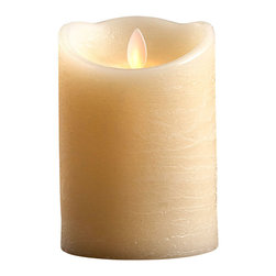 "Dazzler Flickering Candle, 5""x 3.5"" - With its realistically melted top, the Dazzler Flickering Candle offers the convenience and safety of LED mood lighting but doesn't lose the interest and romance of authenticity. A five-inch wax pillar candle in soft ivory with a classic, slightly antiqued outer texture, this piece fits most standard holders and hurricanes, providing a convincing look of flame."