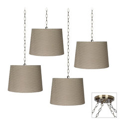 "Lamps Plus - Traditional Horizontal Weave 4-Light Antique Brass Multi Light Pendant - You can create a custom look for your home decor with this 4 light swag chandelier. The design features 4 taupe hardback fabric shades with a horizontal weave pattern. Install the canopy as you would any other ceiling light then swag the shade lights as desired. It's a great style look for seating areas entry halls kitchens and more. Hard-wired installation. Includes shades and canopy swag kit. Adjustable hanging height and pattern. Create a custom look for any room space. With 4 taupe fabric shades with a horizontal weave. Antique brass finish canopy and accents. Includes swag hooks and mounting hardware. 8 feet of chain. 10 feet of wire per light. Takes four 60 watt bulbs (not included). 7"" wide canopy. Each shade is 12"" across the top 14"" across the bottom 10"" high.  Adjustable hanging height and pattern.  Create a custom look for any room space.  With 4 taupe fabric shades with a horizontal weave.  Antique brass finish canopy and accents.  Includes swag hooks and mounting hardware.  8 feet of chain. 10 feet of wire per light.  Takes four 60 watt bulbs (not included).  7"" wide canopy.  Each shade is 12"" across the top 14"" across the bottom 10"" high."