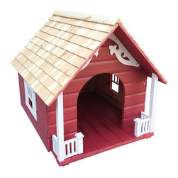 "Frontgate - Heart Dog House - Can be used outdoors or indoors. Entrance is 12""W x 15""H. Interior features a pitched roof (24"" height at peak). Suitable for dogs up to 40 lbs.. Unpainted interior. Roomy and inviting, this cottage-style abode stands up to the elements while keeping your pet content. Constructed of exterior-grade plywood with a pine-shingled roof, and finished with a non-toxic, water-based paint, the house includes four mounting feet and features ventilation and drainage. Charming porch details and faux window trim complete the intimate feel.  .  .  .  .  . Minor assembly required ."
