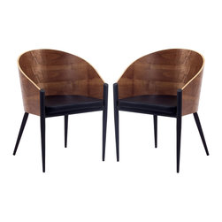 LexMod - Philippe Starck Style Pratfall Chair Set of 2 - Invest energies in a natural way with the Philippe Starck Style Pratfall Chair. Sit content as a renewed sense of urgency sweeps through the curved wooden back and four-legged contemporary design. Positioned firmly on three legs with a broad recreational fourth leg, remain open to possibilities while balanced by constant support.