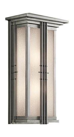KICHLER - KICHLER 49160SS Portman Square Arts and Crafts/Mission Outdoor Wall Sconce - The Arts and Crafts inspired Portman Square collection, in Olde Bronze over solid brass or Stainless Steel, incorporates elongated rectangle-shaped Etched Seedy glass highlighted by vertical metal banding. Contrasting rod crossbars make an elegant, yet simple statement.