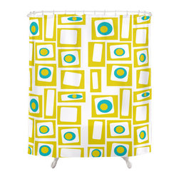 Geometric Shower Curtain by Crash Pad Designs - The fun doesn't have to stop at the bathroom door. Our mid century modern shower curtain will make your bathroom smile.