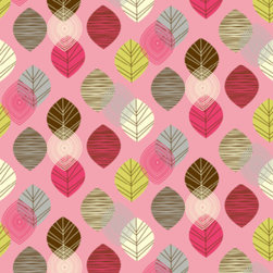 Linear Leaves Bright Wallpaper, Pink - The colorful leaf pattern on this wallpaper brings in beautiful accent colors that are perfect for a girl's room. I especially love the light green, dark gray and raspberry pink.