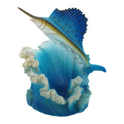 Hand Painted Blue Sailfish Fish Wine Bottle Holder Kitchen Decor - This incredibly gorgeous blue sailfish bottle holder figurine is great for holding wine bottles, liquor bottles, or for holding olive oil as part of your kitchen decor. Made of cold cast resin, the crab stands 7 inches tall, is 9 1/4 inches wide, and 5 1/4 inches deep. It makes a great gift for any big game fish lover. Sorry, the wine bottle in the pictures is not included.