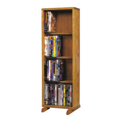 CD Racks - Solid Oak 4 Row Dowel CD/DVD Cabinet Tower - Handcrafted by the Wood Shed from durable solid oak hardwood
