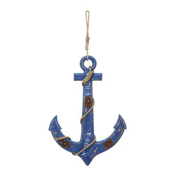 Benzara - Seaside Nautical Weighing Anchor Decor - Let your contemporary home dive into the deep blue with a refreshing piece of decor like this weighing anchor. For all those who love the sea and love the harbor, this carved decor features a ship's anchor hanging from a thick nautical rope. This anchor decor adds a fresh ocean breeze to any area of your home, particularly the bathroom.