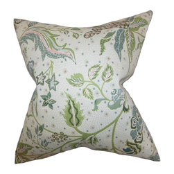 "The Pillow Collection - Fflur Floral Pillow Aqua Green 18"" x 18"" - Reinvent your decor style in time for spring and summer with this throw pillow. Adorned with a floral pattern in shades of green, pink, blue and white. Create a romantic statement in your living room or bedroom by pairing this toss pillow with solids and other patterns. Made with a blend of 95% cotton and 5% linen."