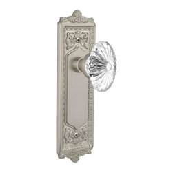 Nostalgic - Nostalgic Privacy-Egg and Dart Plate-Oval Fluted Crystal Knob-Satin Nickel - With its distinctive repeating border detail, as well as floral crown and foot, the Egg and Dart Plate in satin nickel resonates grand style and is the ideal choice for larger doors. Combined with our Oval Fluted Crystal Knob (24 individual hand-ground facets!), the look is elegant, but never fussy. All Nostalgic Warehouse knobs are mounted on a solid (not plated) forged brass base for durability and beauty.