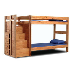 Chelsea Home - 107 in. Twin Over Twin Staircase Bunk Bed - NOTE: ivgStores DOES NOT offer assembly on loft beds or bunk beds.. Includes slat packs and storage drawers. Mattresses not included. Rustic style. Metal brackets are used to connect the rails to the headboard and footboard. Rails with 1.25 in. cleat which is glued and screwed to the rail for extra strength to support the mattress foundation. Drawer mounted on a rolling metal glide for easy opening and closing. Exceed all safety standards of the consumer product safety commission. Constructed for strength and durability. Can hold up to 400 lbs. of distributed weight. Warranty: One year. Made from solid pine wood. Ginger stain finish. Made in USA. Assembly required. Distance between top and bottom bunk: 35 in.. Drawer: 12 in. W x 12 in. D x 4.5 in. H. Overall: 107 in. L x 41 in. W x 62 in. H (297 lbs.). Bunk Bed Warning. Please read before purchase.Warning: Falling hazard, bunk beds should be used by children 6 years of age and older!