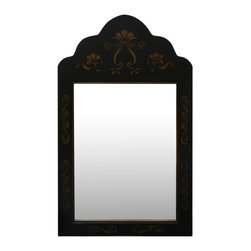China Furniture and Arts - Gold Vine Shang-Hai Mirror - With hand-painted gold vines on black matted wood frame, this beautiful mirror represents a popular Shanghai style in the 1930th. Elegant and graceful, it fits perfectly in the hallway, foyer or bathroom. Brass hanger included.