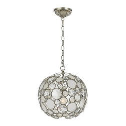 """Crystorama - Contemporary Crystorama Palla 13"""" Wide Antique Silver Pendant Light - The Crystorama Palla Collection is the perfect balance between vintage and modern. This sparkling pendant light features natural white capiz shells and hand-cut crystals affixed to the antique silver finish wrought iron frame. This fun and elegant lighting fixture will add a fascinating element to your decor. Wrought iron construction. Antique silver finish. Natural white capiz shell. Hand-cut crystals. Takes one 100 watt medium base bulb (not included). 13"""" wide. 14"""" high.  Palla antique silver pendant light.  From the Crystorama Palla Collection.  Natural white capiz shell.   With hand-cut crystals.   Wrought iron construction.   Antique silver finish.   Takes one 100 watt medium base bulb (not included).   13"""" wide.   14"""" high."""