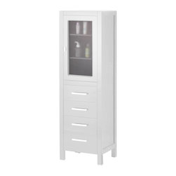 "Design Elements - Design Elements London 66"" Linen Cabinet - The CAB004-W linen cabinet perfectly complements Design Element London White Collection Vanities.Featuring clean lines, the same clean white finish, wooden shelves, a windowed soft-closing cabinet door, four storage drawers, and stunning satin nickel hardware."