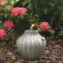 """Smart Solar - Prometheus Ceramic Garden Torch - 10"""" H - Morning Dew - Hand crafted 10""""H ceramic fire pot. Outdoor accent piece to line walkways or use as centerpiece. Aluminum cylinder includes wick. Burns for approximately 1 hour per 1 ounce of lamp oil (not included). Can be used with citronella lamp oil to keep mosquitoes away. One year limited warranty. 10 in. Diameter x 10 in. HThe Prometheus ceramic garden torch is an outdoor accent piece perfect for lining walkways or as a centerpiece on a table. Create warmth and ambiance with this hand crafted garden torch with a unique Blue Midnight glazed finish. It burns for approximately one hour per one ounce of lamp oil used. Cylinder includes wick."""
