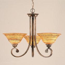 Toltec Lighting - Bronze Finish 3 Light Uplight Chandelier with Firre Saturn Glass - 3 medium base 100 watt bulb(s) (not included).