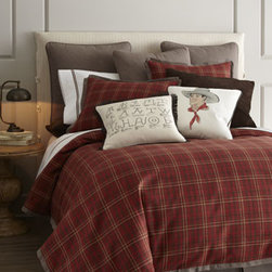 "French Laundry Home - French Laundry Home Twin Plaid Duvet Cover, 69"" x 90"" - Plaid shams and duvet covers come in a choice of colors; select color when ordering. European sham and dust skirt are a herringbone pattern. All are made in the USA of imported fabrics. All are cotton except polyester faux-leather varsity pillow. Dry cl..."