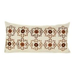 Design Accents Emblem Pillow - Brown - Warm, rich hues and a handsome pattern make the Design Accents Emblem Pillow - Brown a perfect accent piece. Made of quality cotton, this modern square pillow ensures lasting beauty in your home. The hand-embroidered floral design gives a subtle elegance and luxurious appeal to your chair, sofa, or bed.