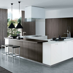 Varenna by Poliform - Varenna by Poliform Kyton Kitchen Cabinetry - Kyton is a kitchen expressing an evolved and informal living solution.  Its design offers a new vision while combining versatility and solidity.  The result is an increasingly more personalized kitchen and an ideal world of pleasure in simplicity.  The cabinets are available in a variety of colors and finishes of wood, embossed or glossy lacquered MDF and glass.  Available wood finishes include oak, siena oak, brown oak, Spessart oak, dyed grey oak, dyed wenge oak and acacia.  Tape style integral door handle is available on cabinet doors.