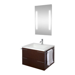 VIGO Industries - VIGO 31-inch Single Bathroom Vanity, Red Oak, With Mirror and Lighting System - Try something new with this contemporary VIGO bathroom vanity. No other brand can match VIGO's style, quality and design.