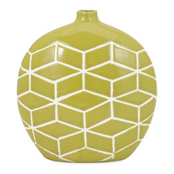 iMax Corporation - Sarina Round Vase - Fool the eye with a graphic ceramic vase and a geometric trompe l'oeil pattern that would make Escher proud.