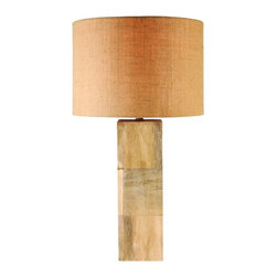 Kenroy Home - Kenroy 32442NWG Burton Table Lamp - Cubed Squared! This square shaped lamp has three sections of paneled wood pieces makes this lamp one to look for. Topped with a Tan Textured Drum shade, the warm tones of the body are pulled out by the shades glow. At 29 inches tall this pillar is sure to complete your look in any room.