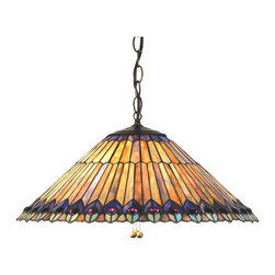 Meyda Tiffany - Meyda Tiffany Tiffany Reproductions Pendant Lighting Fixture - Shown in picture: Tiffany Jeweled Peacock Pendant; Welcome This Classic Tiffany Design Into Your Home. Glowing Amethyst Jewels Accent Stylized Peacock Green Peacock Feathers Of Moss - Amber - Jade And Amethyst Streaked Colored Art Glass With Cobalt Accents. The Ceiling Pendant Is Hand Finished In A Beautiful Mahogany Bronze.; Smallest height shown - expandable from 14.5-49.5.