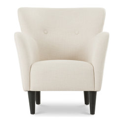 Bryght - Happy Beige Armchair - Taking inspiration from the 1950's, the Happy collection boasts a retro mid century modern appeal. Tailored to perfection in a chic beige fabric with flared, upward sloping arms and a button tufted back, the Happy armchair is all set to make a bold fashion statement.