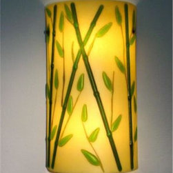 Soja, Beverly - Bamboo on Sand Cylinder Sconce 6 Inch - The Bamboo sconce is made from flame-worked, fused and slumped glass. The background glass is warm creamy light beige, the bamboo stalks are green, with a hint of amber in the thinnest green branches. The entire piece is etched for a soft, glossy finish