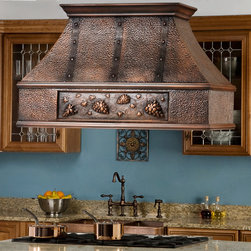 """48"""" Tuscan Series Copper Island Range Hood - Grape Motif - Whether you want the feel of an Italian vineyard or a cozy cafe, the grape motif on the 48"""" Tuscan Series Copper Island Range Hood is featured on both sides to create a charming focal point."""