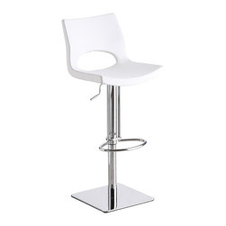 J&M Furniture - White C203-3 Swivel Barstool - Advantages of foam injection molding include absence of the sink mark on the part surface, better geometric accuracy, weight reduction, low back pressure, faster cycle time, better weld line strength, high stiffness-to-weight ratio, etc.C203-3 White Swivel Barstool by M Furniture swivels 360 degrees and has a hydraulic adjustable seat.