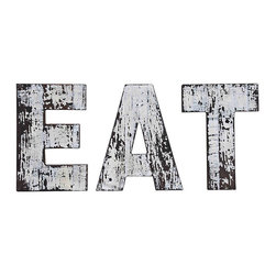 """Eat Sign, Distressed Paint - Accentuate your casual dining space with this distressed black and white """"Eat"""" sign. Each letter in the word """"EAT"""" hangs individually to create interesting diner-style signage. The sign's highly distressed finish creates a truly two-tone black and white effect that will coordinate with many home d�cor styles."""
