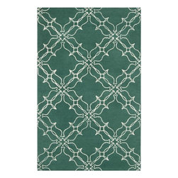 Surya - Aimee Wilder Emerald Green Area Rug - A striking design enhanced with amazing colors, Aimee Wilder Emerald Green Area Rug will make your room look refreshed. Featuring unique, geometrical abstract design in amazing emerald green and white colors, the area rug is sure to add some sophistication and visual interest. Made of 100% pure wool using hand-tufted method. Add soft touch and style to your home flooring with this long lasting area rug. Features: