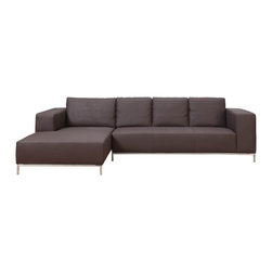 White Line Imports - Dana Chocolate Sectional Sofa with Left Facing Chaise - Features: