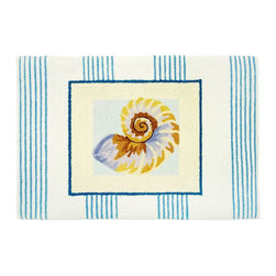 Contemporary Pinstripe Nautilus Shell Area Rug - The Pinstripe Nautilus Shell area rug Collection offers an affordable assortment of Contemporary stylings. Pinstripe Nautilus Shell features a blend of natural Beige color. Hand Hooked of Polyester the Pinstripe Nautilus Shell Collection is an intriguing compliment to any decor.
