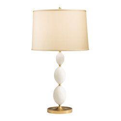 Decorative Crafts - Decorative Crafts Alabaster Table Lamp - 8095 - Desciption : Antiqued brass and alabaster lamp with round hardback fabric shade.
