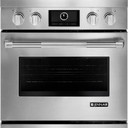 "Jenn-Air Pro Style Series JDRP430WP 30"" Pro-Style® Dual-Fuel Range - 30"" Pro-Style® Dual-Fuel Range with 4 Burners and 4.1 cu. ft. Capacity Self Cleaning Convection Oven, LCD Display, Cast Iron Grates"