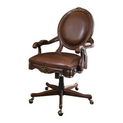 Hooker Furniture - Swivel Desk Chair - Can you see yourself sitting in this chair just like royalty? It does everything an office chair should do; it just looks better doing it. It tilts, it swivels and it is fully adjustable with a pneumatic gas lift. Now if it could only fill in those pesky time sheets.