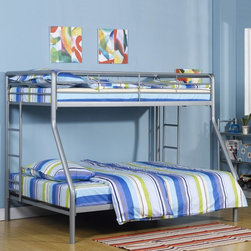 Dorel Home - DHP Ambrose Twin over Full Bunk Bed Multicolor - 5418096 - Shop for Bunk Beds from Hayneedle.com! Climb on up for a cozy night's sleep in the DHP Ambrose Twin over Full Bunk Bed. Ideal for children who share a room or young adults in a dorm room this contemporary bunk bed can accommodate up to three sleepers. Two secured side ladders provide quick and easy access to and from the top bunk while safety rails on all sides provide added security. This twin-over-full bunk bed features a durable metal frame and sleek silver finish. It fits a twin mattress on top and full mattress on the bottom. Mattresses not included.About Dorel IndustriesFounded in 1962 Dorel Industries is a family of over 26 brands including bicycle brands Schwinn and Mongoose baby lines Safety 1st and Quinny as well as home furnishing brands Ameriwood and Altra Furniture. Their home furnishing division specializes in ready-to-assemble pieces including futons microwave stands ladders and more. Employing over 4 500 people in 17 countries and over four continents Dorel is renowned for their product diversity and exceptionally strong commitment to quality.