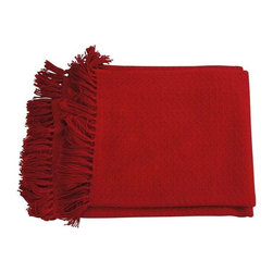 Used Red Throw Blanket With Fringe - Alapaca Wool Handwoven throw. Super soft to the hand, makes for a perfect shawl as well.