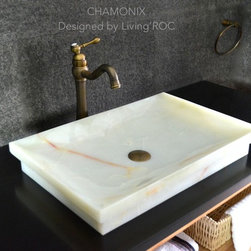 """Living'ROC - 24"""" White Onyx Bathroom Vessel Sink - CHAMONIX - Description CHAMONIX is a natural stone rectangular White Onyx bathroom single vessel sink - 23.3' x 15.7' x 3.5' - genuine interior decoration pure genuine Onyx. The 'Exceptional' cut in the block without any comparison with plastic and other chemical resin market often unaffordable.  You will definitely not let anyone feel indifferent with this 100% natural stone unique in the US and exclusively available on Living'ROC.net.  Feel free to click on our facebook portfolio page to inspire yourself with our clients' projects...Simply our living'ROC style. Discover the well-being and the restful feeling CHAMONIX with its pure genuine Onyx can give you. This model is one of our Bathroom range star. Its slim and sleek lines invite calm and serenity. Its four sloping edges allow a large amount of water. This creation will give your bathroom a minimalist still elegant look. At LivingRoc we have chosen the most beautiful stones. All our basins are made from high quality pure genuine materials that will last for years to come. Onyx is a material perfectly adapted to bathroom use. All of our vessel sinks are the creation of a combined group of talented masons dedicated to the idea of creating bathware made from natural material which is environmentally friendly. Waterproofed CHAMONIX is ready to use sitting on a vanity counter top. If you wish to standardize your project you can choose among a wide range of our Trendy grey granite shower trays carved from the same material (very similar color and same honed finish) as it came from the same quarry and most often from the same block of stone.  Spacium  Palaos  Quasar or  Dalaos.  This vessel sink is Highly resistant to chipping and scratching withstands hot temperatures tolerant to very high temperature changes.   Our creation is delivered without an overflow drain (not included) - every US drains models you can find on the market will fit perfectly on Living'ROC vess"""