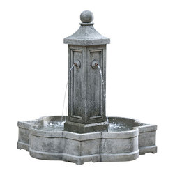Campania - Provence Garden Water Fountain, Travertine - Campania has done it again with the Provence Garden Fountain! This stunning work of art is a must have, perfect for commercial and home settings this fountain is sure to be the focal point. The Provence Garden Fountain has a uniquely shaped basin that has 4 water spouts flowing into it. This is a high quality, one of a kind fountain.