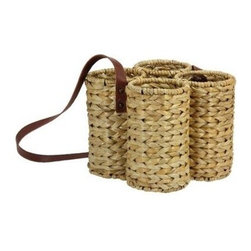 Household Essentials - Banana Leaf Wine Caddy with Shoulder Strap, 4-Bottles - Our Woven Natural Banana Leaf Four Bottle Wine Caddy in natural color is durable and keeps wine bottles safe. Four round, sturdy compartments keep bottles secure and prevent clinking. A long, brown strap is attached to the caddy that makes it convenient to carry it over your shoulder. Perfect for any outdoor event, this wine caddy is attractive and blends in any decor.