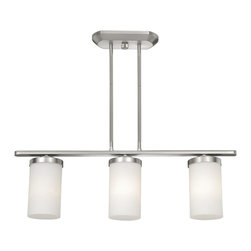 Vaxcel Lighting - Vaxcel Lighting OX-CFD280BN Oxford Transitional Kitchen Island / Billiard Light - A juxtaposition of cylindrical shapes and sweeping curved lines.