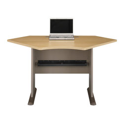 """BBF - BBF Series A 42W Corner Desk - BBF-Computer Desks-WC64342-Use corner space more efficiently when designing a custom desk and work area with the BBF Series A 42"""" W Corner Desk. Perfect for a small space solution or use as a building block to form a larger L-Desk by combining with any Series A Desk. The Corner Desk accepts the 42"""" W Corner Hutch to add extra storage. Wire management grommets in desktop and legs keep cables under control. Thermally fused laminate work surface resists scratches and stains and a hefty 1"""" thick desktop and leg end panels provide rugged durability to this convenient Corner Desk. Solid construction meets ANSI/BIFMA test standards in place at time of manufacture; this product is American Made and is backed by BBF 10-Year warranty."""